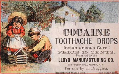 "1885 US ad for ""Cocaine Toothache Drops"" for children. This was legal back then."